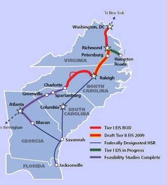 Southeast high speed rail corridor