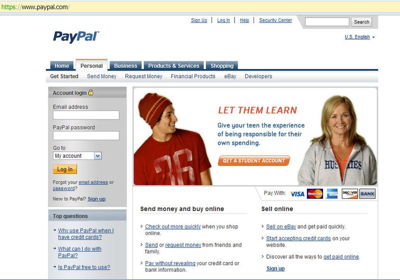Real paypal site